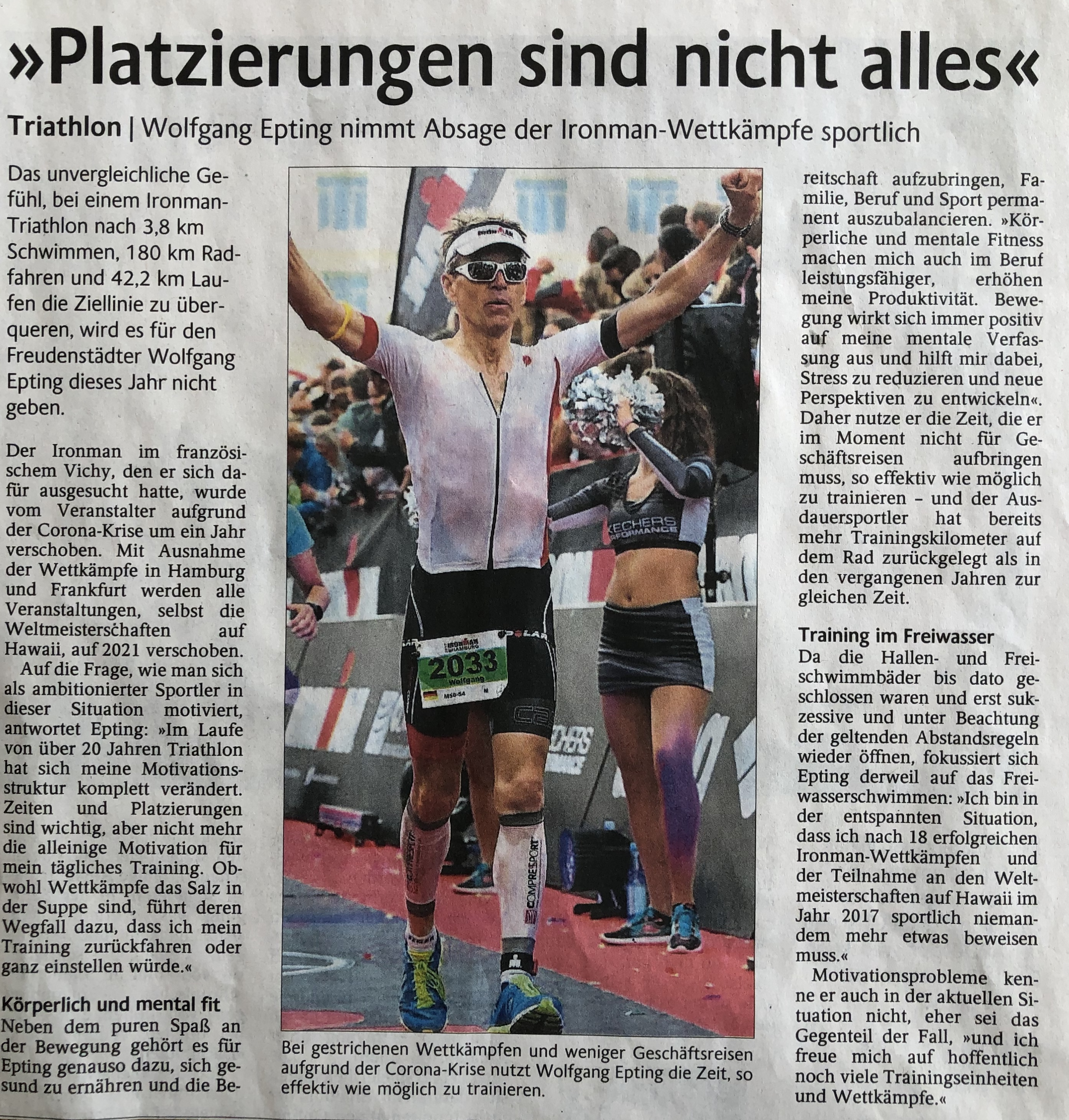 Schwarzwälder Bote 09.06.2020 Wolfgang Epting IRONMAN Triathlon Text